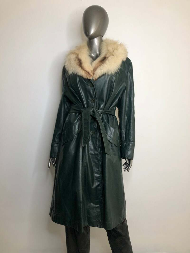 Buy Dark green women's coat made from real leather casual coat classical long coat autumn coat vintage coat old coat retro style has size-large.