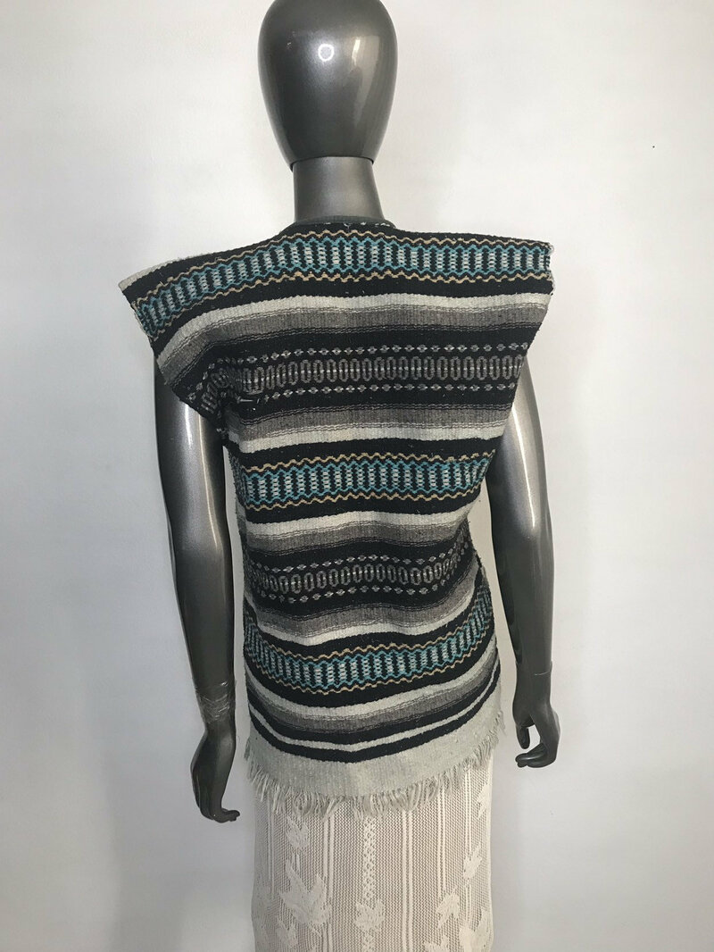 Wool Womens Vest Ethnic Ornament original  stilish vest fringe with pockets used condition womens size small .