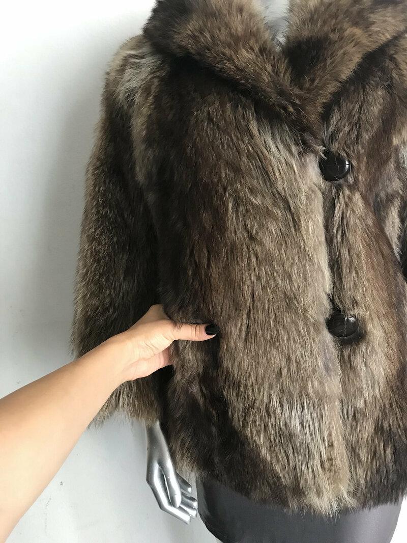 Beige women's coat real raccoon fur casual coat classical coat warm short coat modern coat vintage coat steep streetstyle coat size-small.