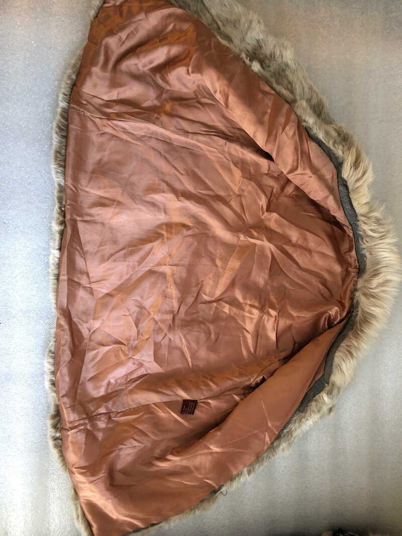 Rabbit Fur Coat Womens Short  Warm Beige in classic style winter fur coat with a  small fluffy collar womens size small.