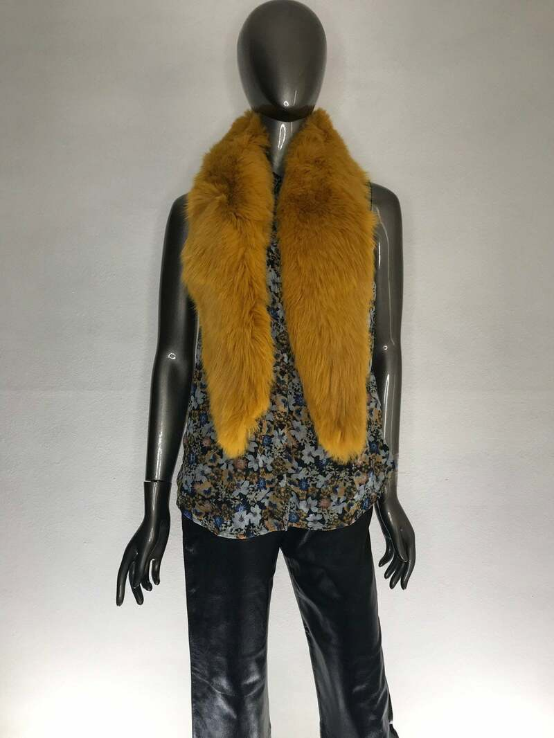 Buy Yellow Fox Fur Collar Fluffy vintage wide warm cozy collar universal size.