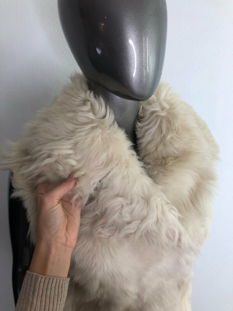 Sheep Fur Vest White Short Warm vest with a cozy English collar straight silhouette Burning Man style womens size is small.