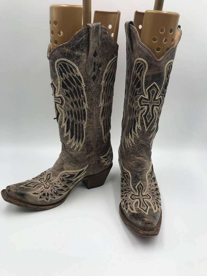 Buy Gray women's boots real leather vintage embroidered with unique cross western style cowgirl boots streetstyle retro gray color has size 8.