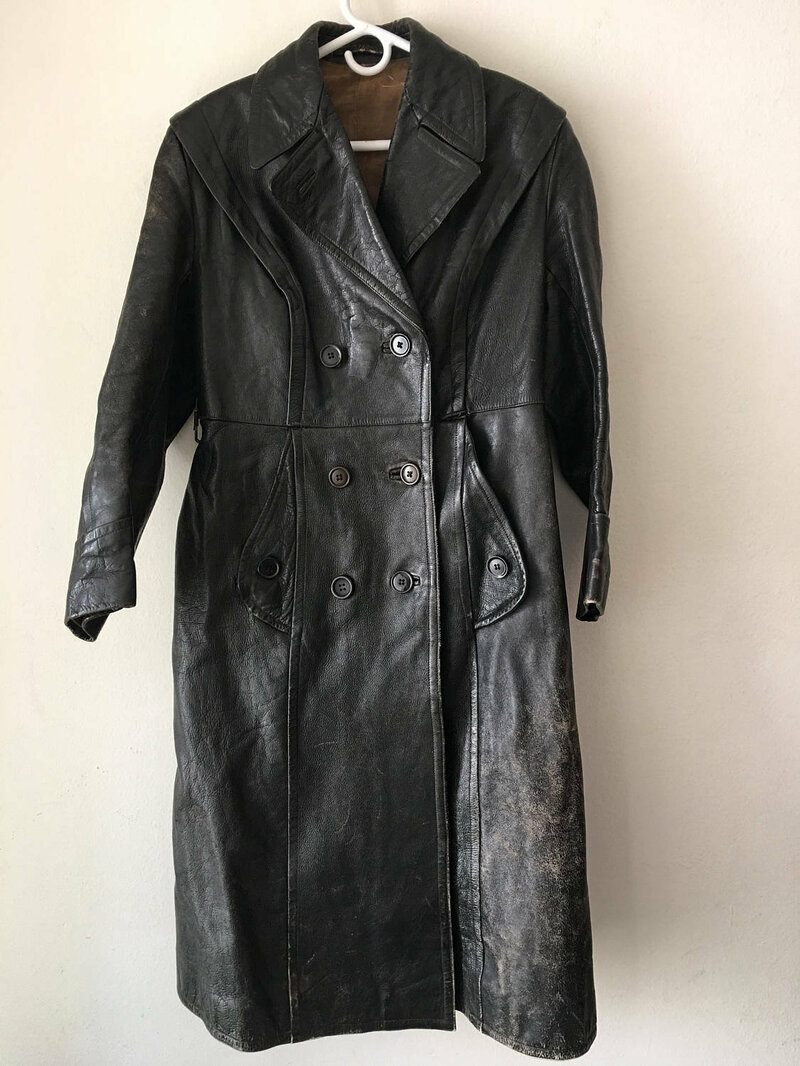 Buy Modern Long Vintage Black Genuine Shabby Leather Coat Men's Size Medium.