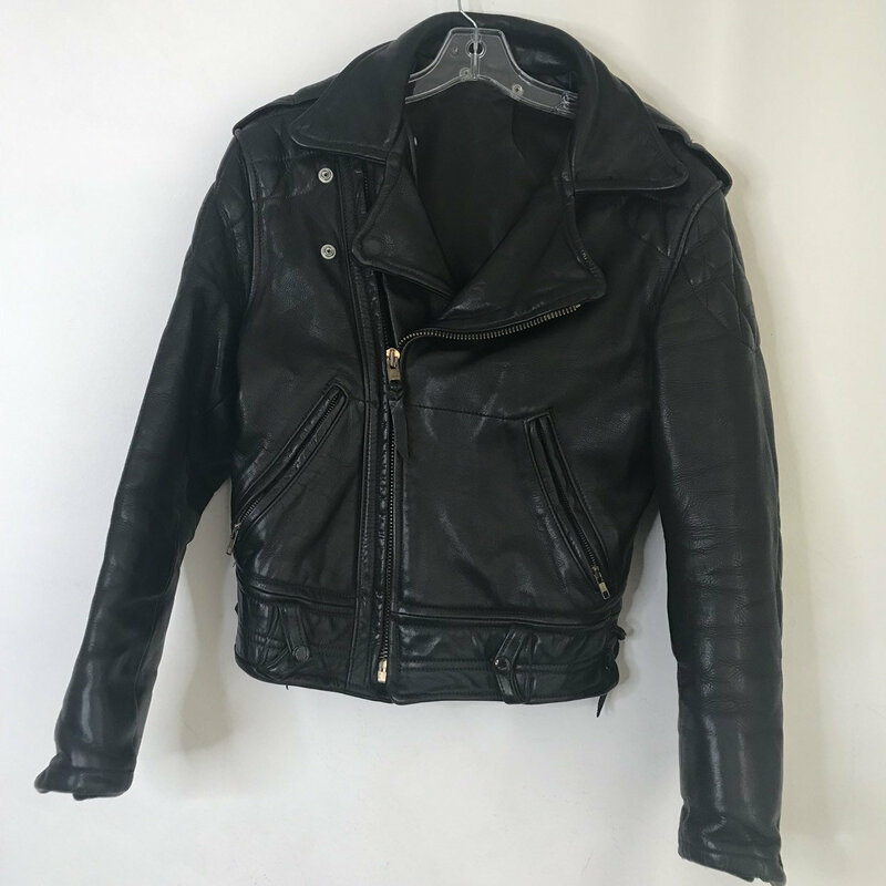 Buy Black men's jacket real leather authentic jacket short jacket motorcycle jacket vintage jacket rocker style heavy jacket has size-small.