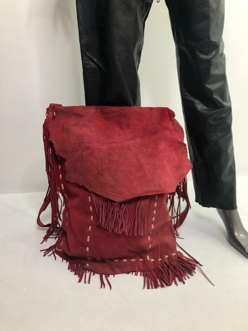 Buy Red Bright Women's Handbag from real soft suede fashionable handbag with suede fringe handmade bag designer bag streetstyle has size large.