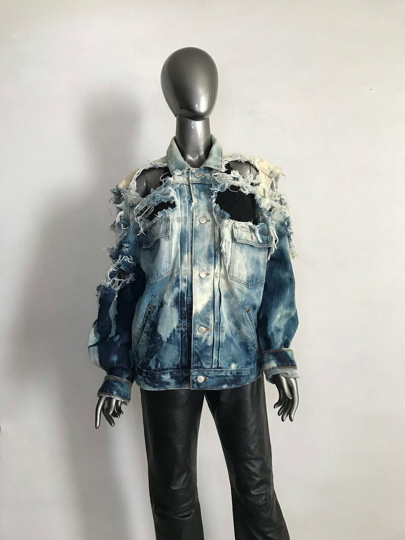 Buy Mens Denim Jacket Style Grung with decorative holes Handmade  demi season jacket with pockets mens size medium.