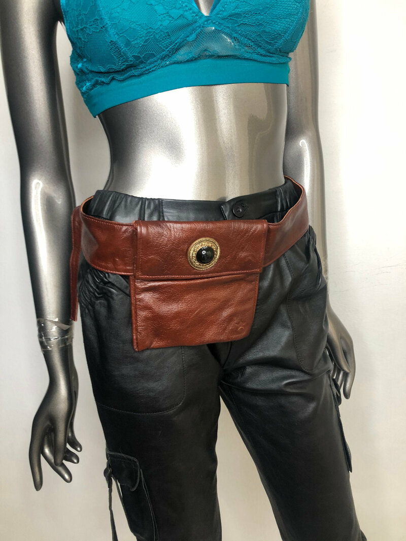 Buy Brown Leather Bag from real leather hip bag original fashion streetstyle bag waist bag small bag funny bag vintage bag has size-small.