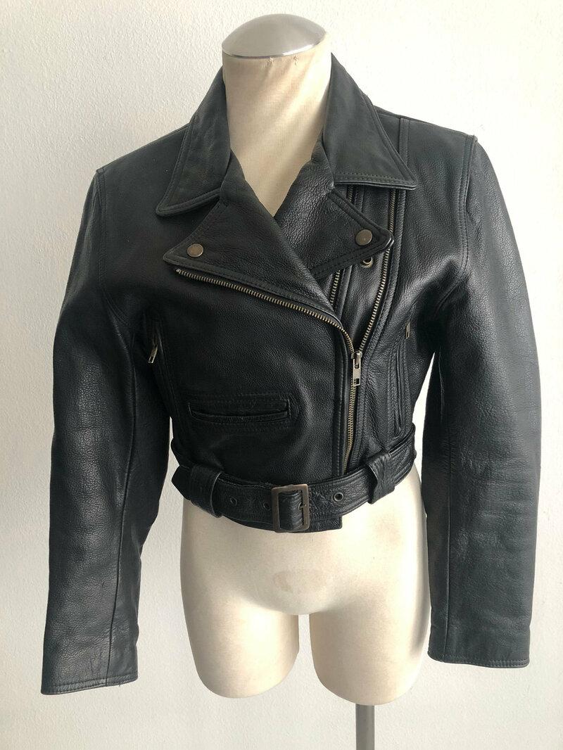 Buy Black women's jacket from real leather heavy jacket short jacket motorcycle style jacket vintage jacket steep jacket retro style size-small.