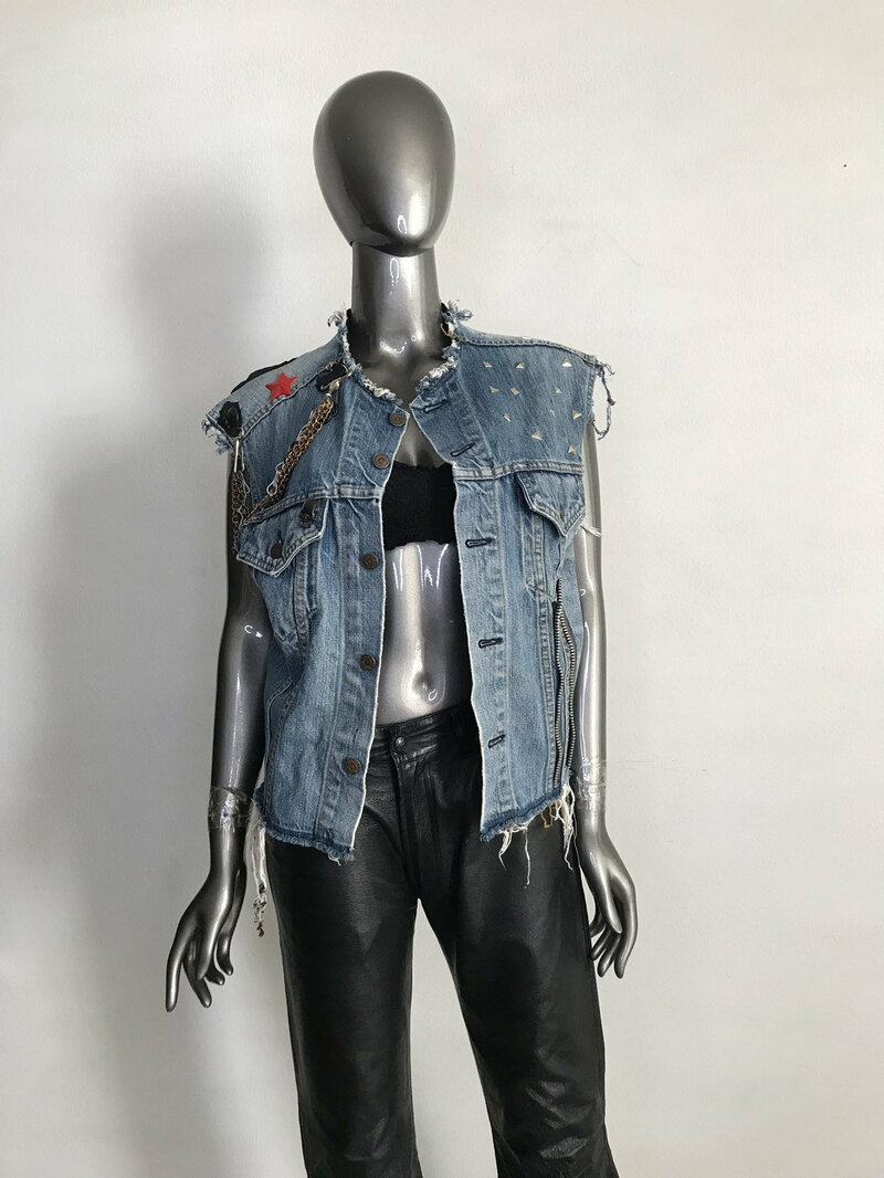 Buy Handmade Denim Vest Grung Style Blue Color with original details and picture in the form of a poster Metallica unisex model size medium.