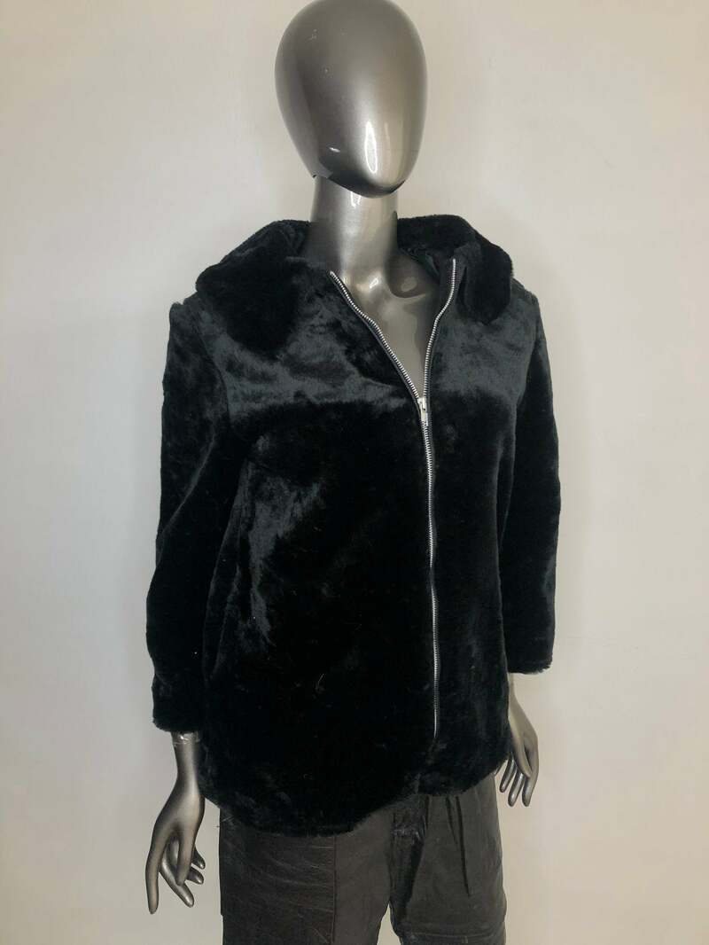 Buy Black Short Faux Fur Coat Vintage with pockets and big cozy collar straight silhouette fastened on zipper womens size medium.