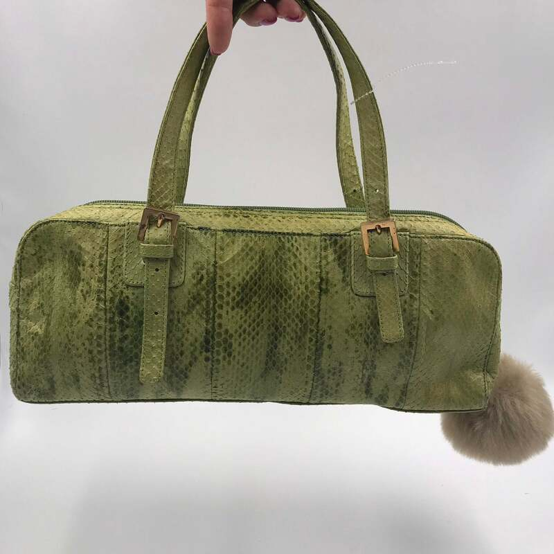 Buy Handbag Snake Leather Green Women's on short handles with metall buckles fur bubo used condition size small.