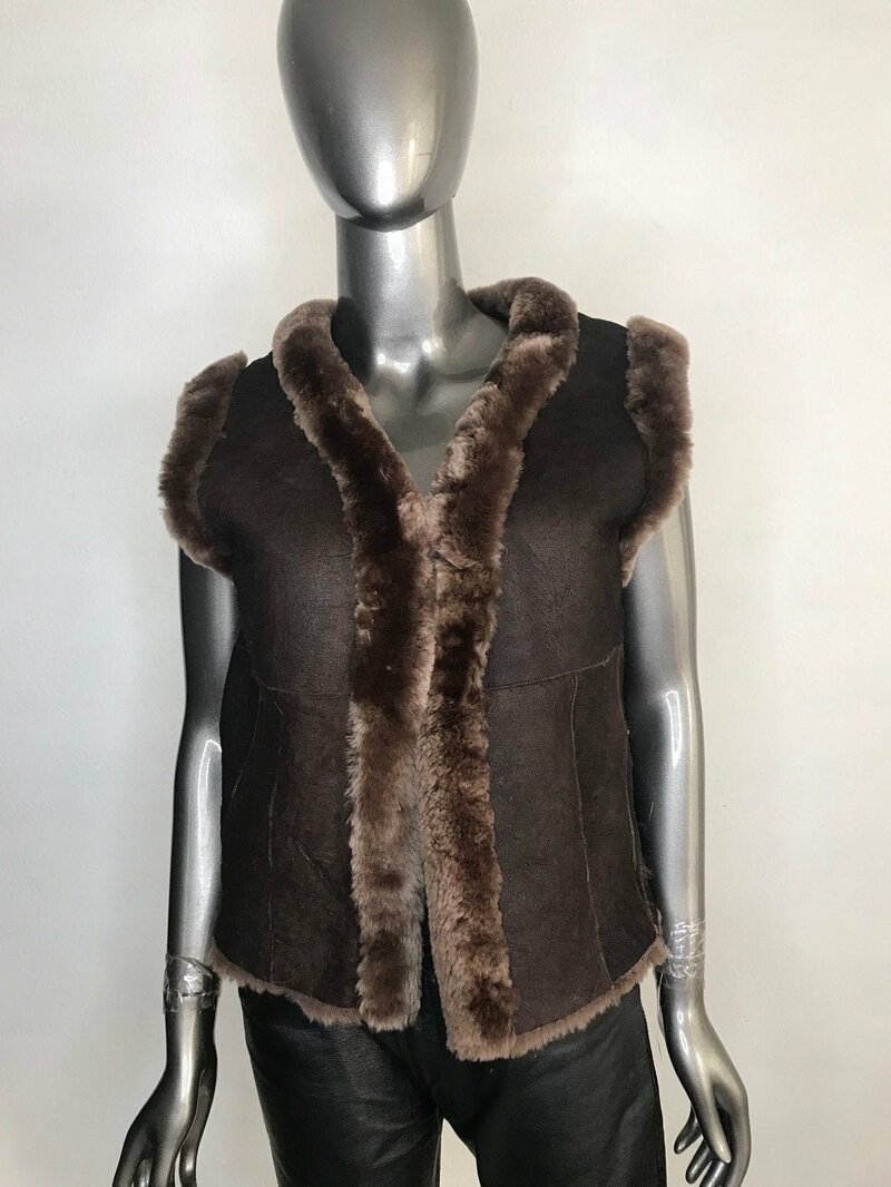 Buy Sheepskin Vest Brown Warm Short of fitted  silhouette with fastener  in sporty style womens  size small.