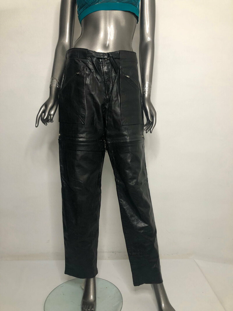 Buy Black Women's pants real leather soft leathe amazing design vintage pants streetstyle transformers pants leather shorts has size-medium.