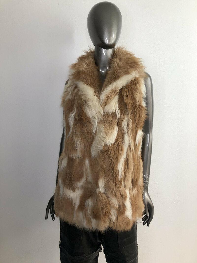 Buy Orange women's fur vest from real fox fur soft fur long vest winter vest vintage vest wedding vest warm vest retro style has size-medium.