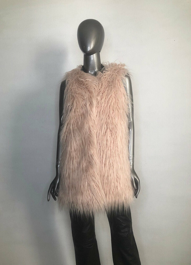 Buy Faux Fur Vest Womens Pink original fluffy beautiful vest in the youth style womens size medium.