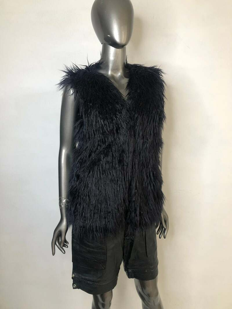 Buy Faux Fur Vest Black Women Short Very Light and soft vintage model with inside pockets ,size medium.