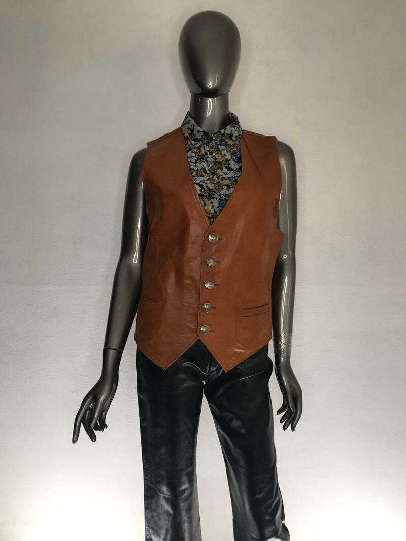 Buy Orange Leather Men's Vest Classic style silver original buttons used condition have stains men's size small.