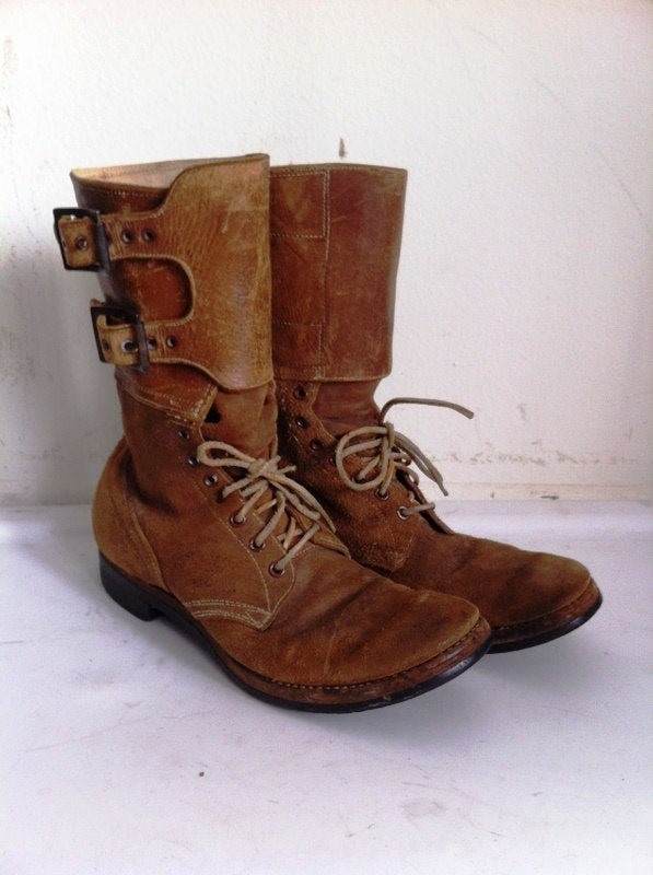 Buy Brown Men's boots real leather vintage boots original boots Boots Second World War long boots with buckles brown color has size 9.