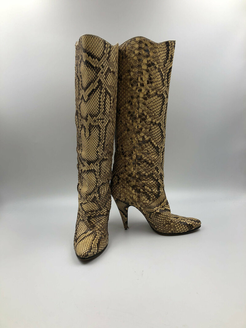 Buy Beige Women's boots real python leather vintage boots boots on stilettos streetstyle classical boots beige color has size EU 8 1/2 US 7 1/2.