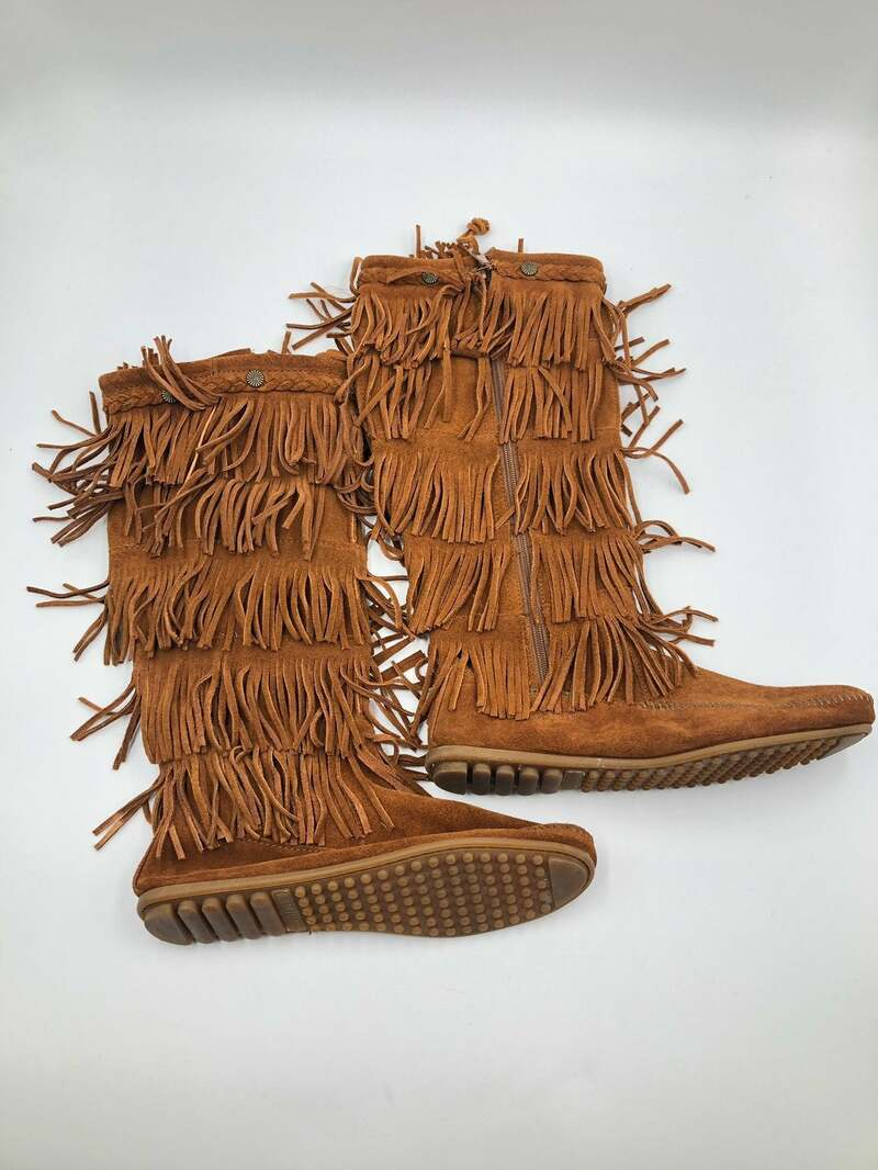Buy Brown Women's boots real suede vintage boots long boots western style boots with fringe flat boots streetstyle brown color has size 9.