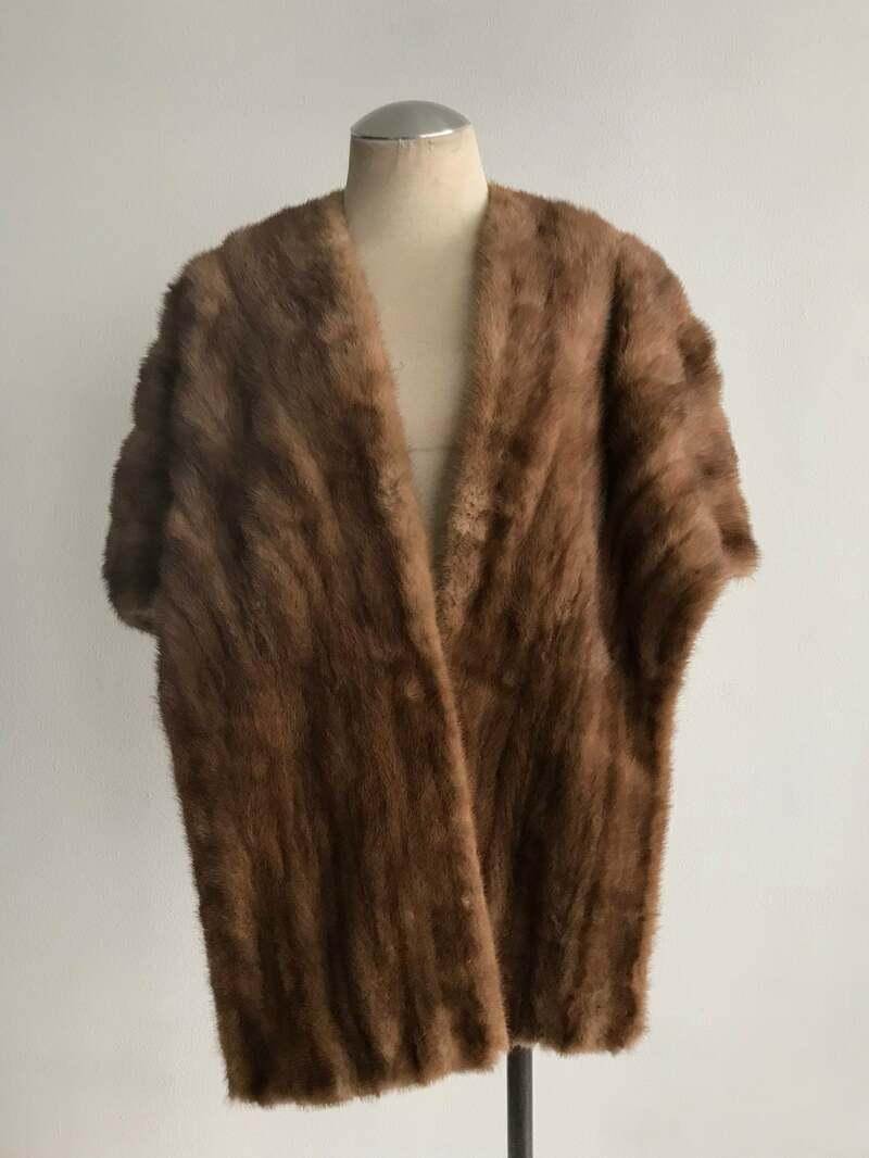Buy Mink Fur Bolero Brown Warm vintage bolero of festive look design from stripes in good used condition universal size.