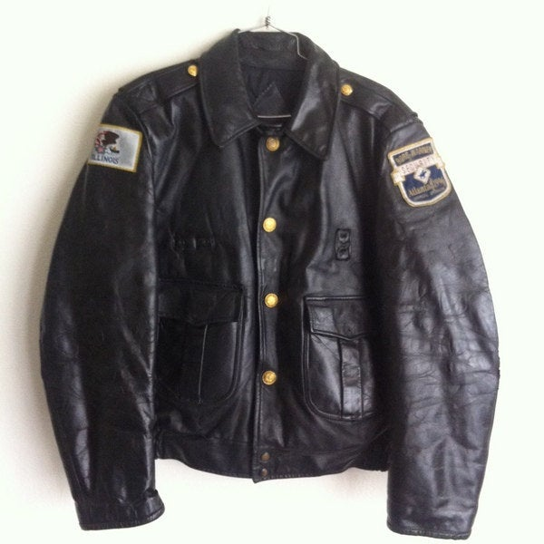 Buy Police Uniform 1980's Style Vintage Black Genuine Leather Man's Jacket Size Large.