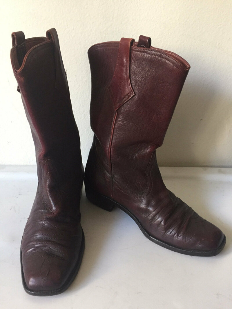 Buy Vinous color men's cowboy boots from real leather, vintage style western boots old boots retro style men's size 10.