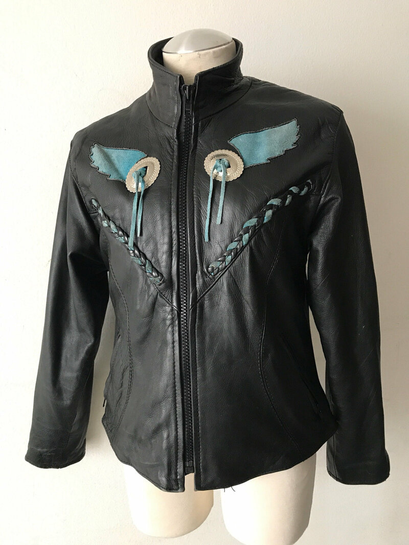 Buy Women's black leather jacket with a zipper;western style ,jacket with original detales,women' size small.