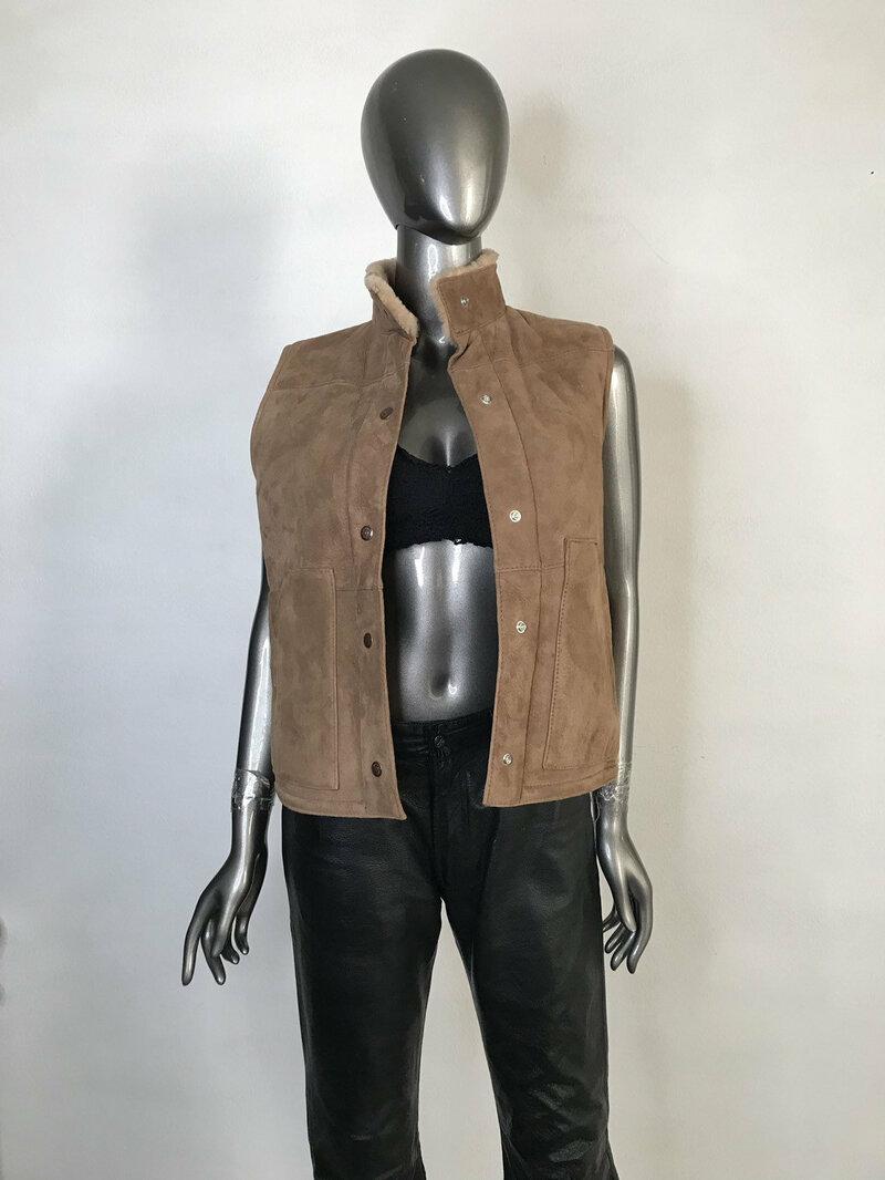 Buy Women's vest real sheepskin warm vest winter vest streetstyle vest vintage style old vest retro style beige color has size-small.
