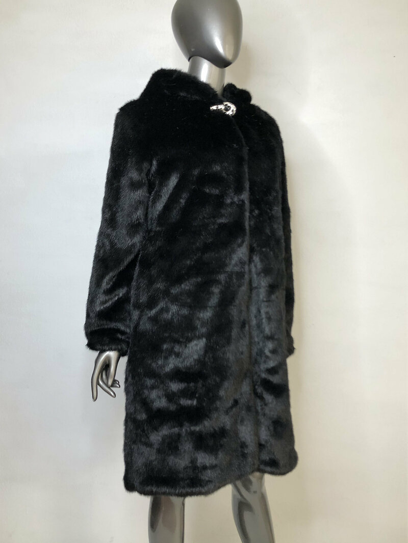 Buy Black Faux Fur Coat with pockets and cozy hood A- silhouette classic style with a beautiful clasp, women's clothes size medium.