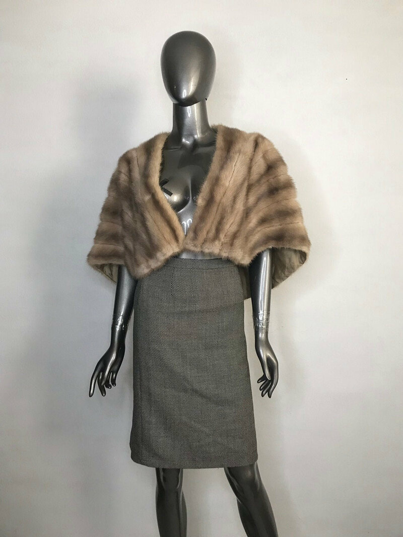 Buy Mink Fur Bolero Women's Vintage Beige color warm bolero retro style fastened on hook universal size.