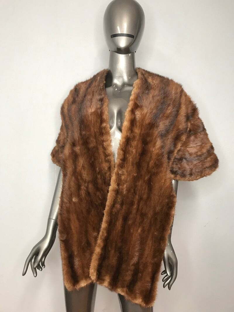 Buy Classic Style Mink Fur Bolero Womens Brown color rippled form festive look with repaired parts warm bolero in vintage condition.