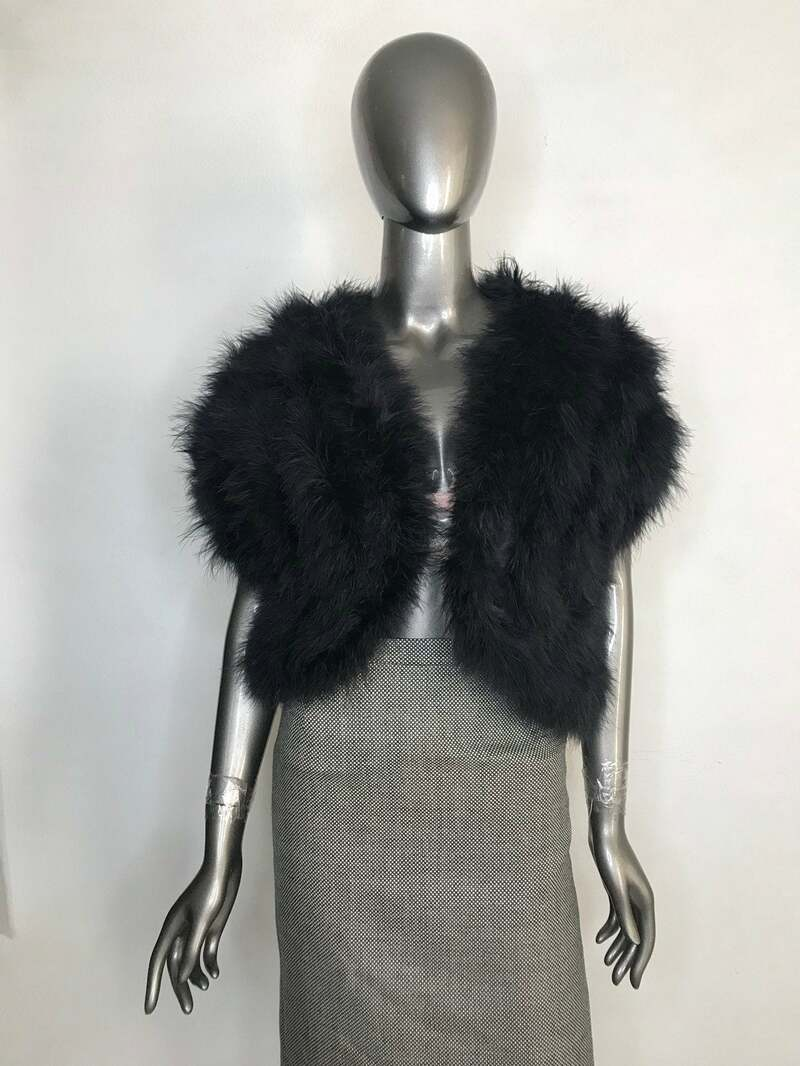 Buy Bolero Short Fluffy Black Color of swan's down  festive look shiny soft women's classic vintage bolero.