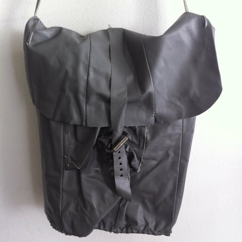 Buy Handmade crossbody bag for woman, handbag from real leather, vintage, gray color, size: medium