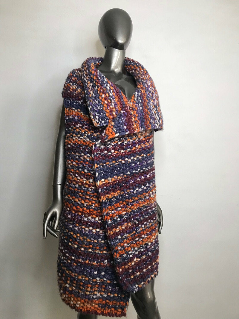 Buy Handmade Knitted Vest Women's Wool variegated of straight silhouette fastened with the pin size universal .
