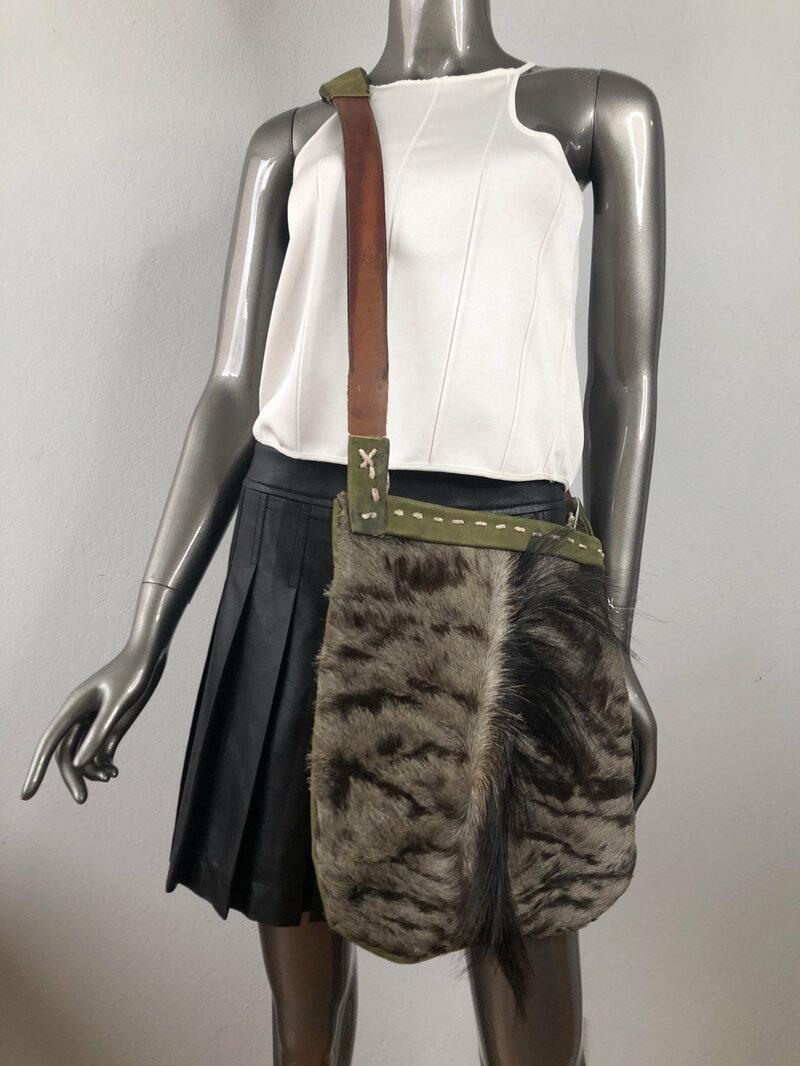 Buy Women's handmade handbag ; real pony fur and suede; designer bag medium size;made in USA.