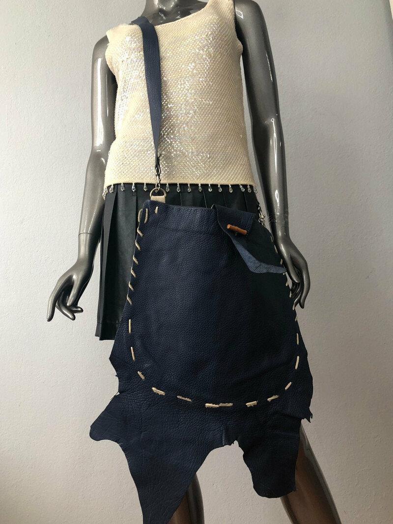 Buy Women's handmade  handbag from heavyl leather of dark blue color; designer bag with long handle;the original bag ; size medium .