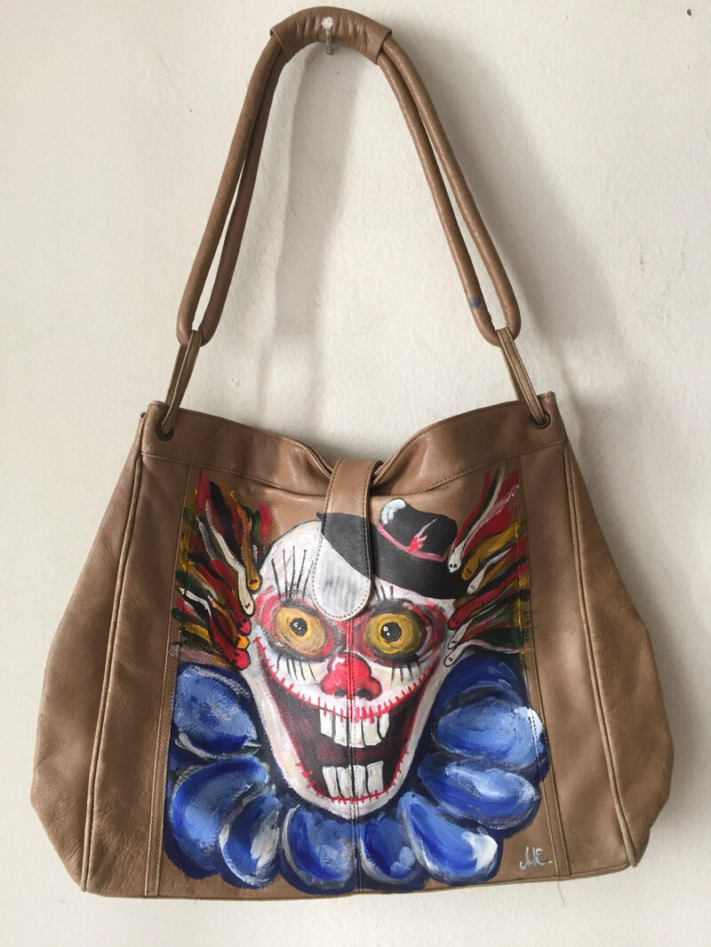 Buy Halloween Style Dark Beige Designer Womens Bag from leather bag has unique printed picture -Big clown face handmade bag new size large.