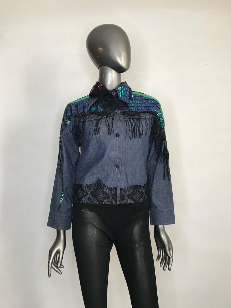 Buy Handmade Denim Jacket for Women Blue Color is decorated with original applique of multi-colored fabric lace and braid womens size small.