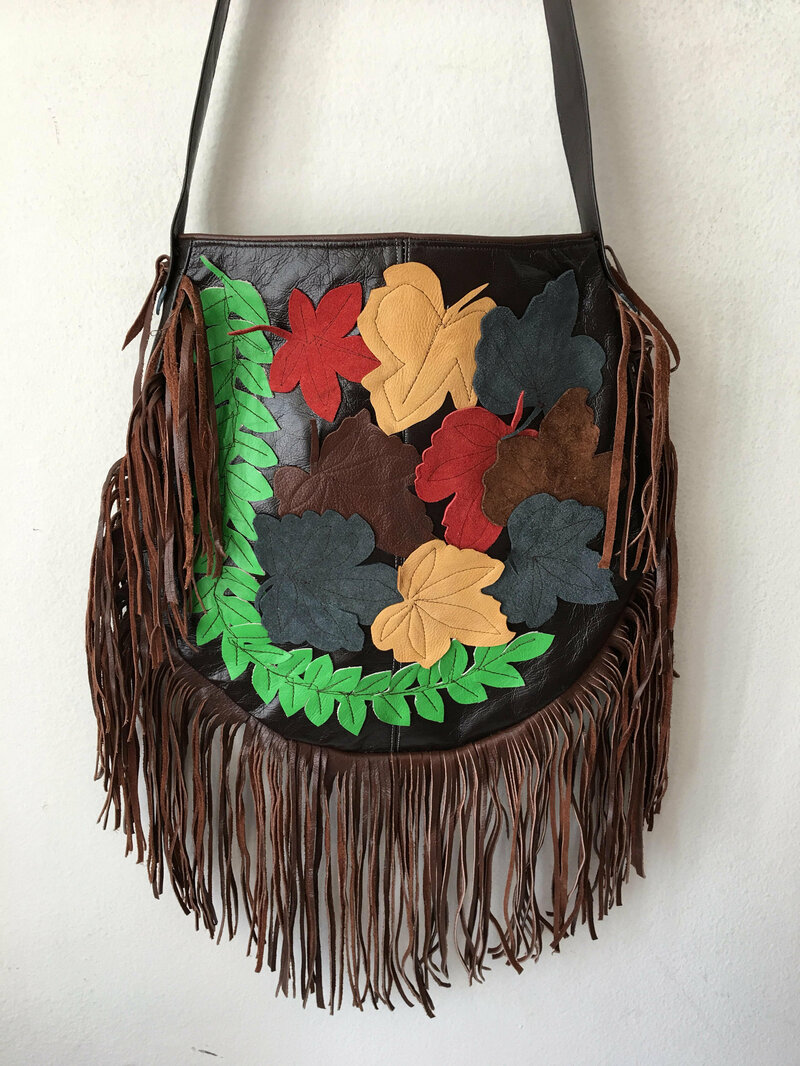 Buy Real Handmade Crossbody Bag Brown soft recycling leather with elements of leather fringe and autumn applique new womens size large.