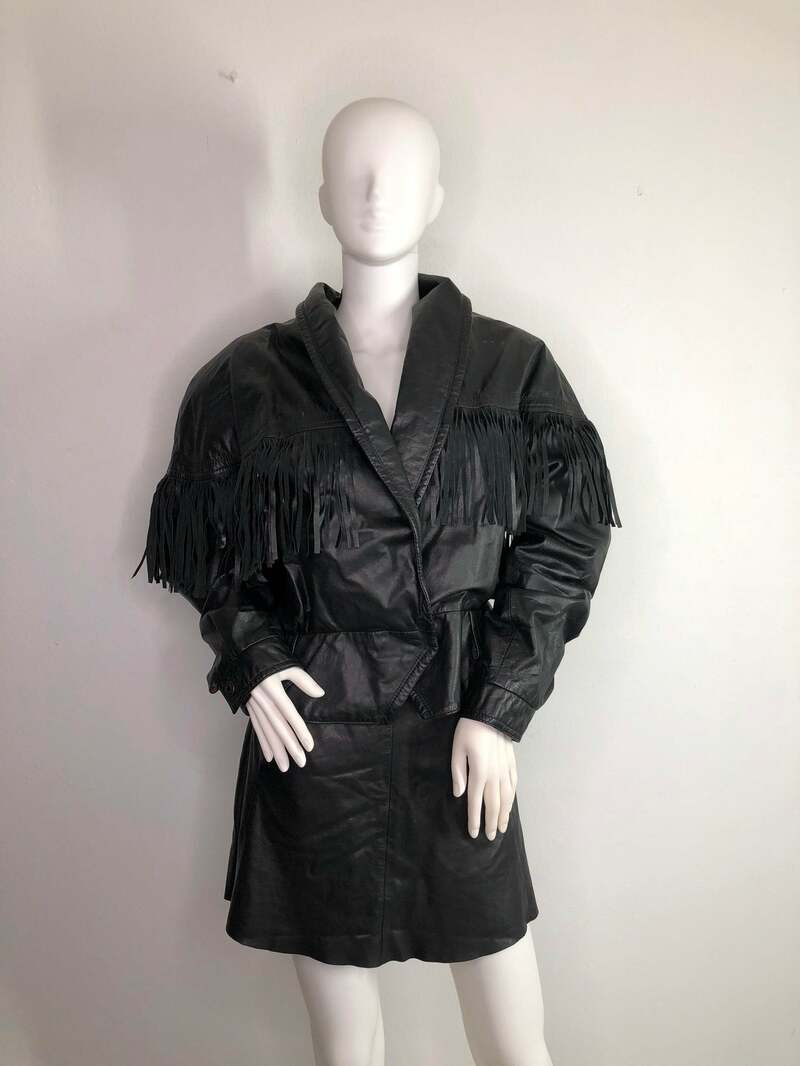 Buy Black fringe women's jacket real leather with fringe short wide jacket western style vintage jacket streetstyle jacket has size-large.