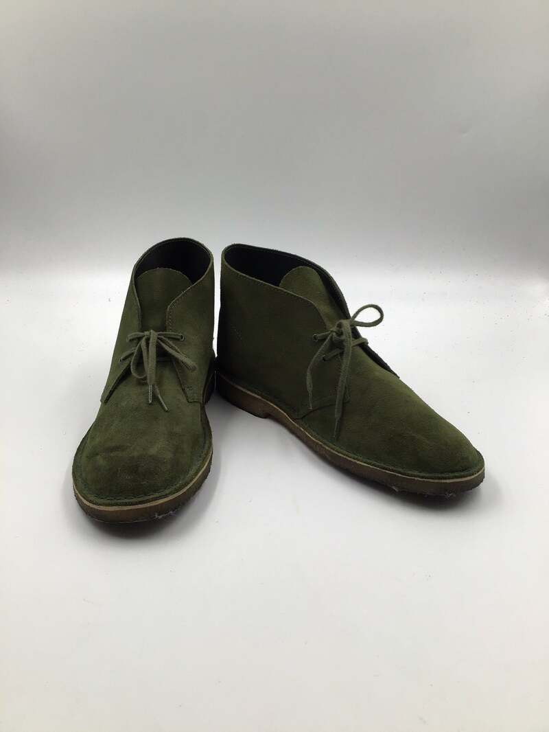 Buy Green men's shoes from real suede vintage shoes short shoes desert boots streetstyle shoes casual shoes steep shoes green color has size 10.