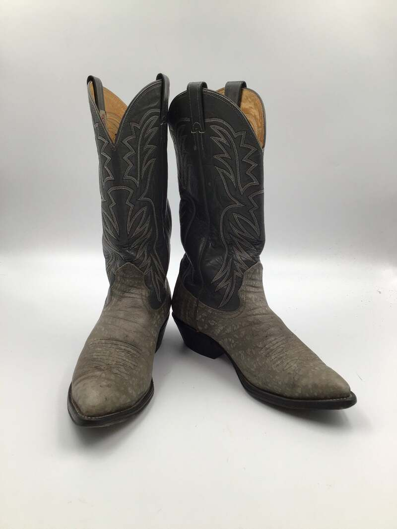 Buy Gray women's boots from real leather vintage embroidered with unique pattern western style cowboy boots streetstyle retro has size 9.