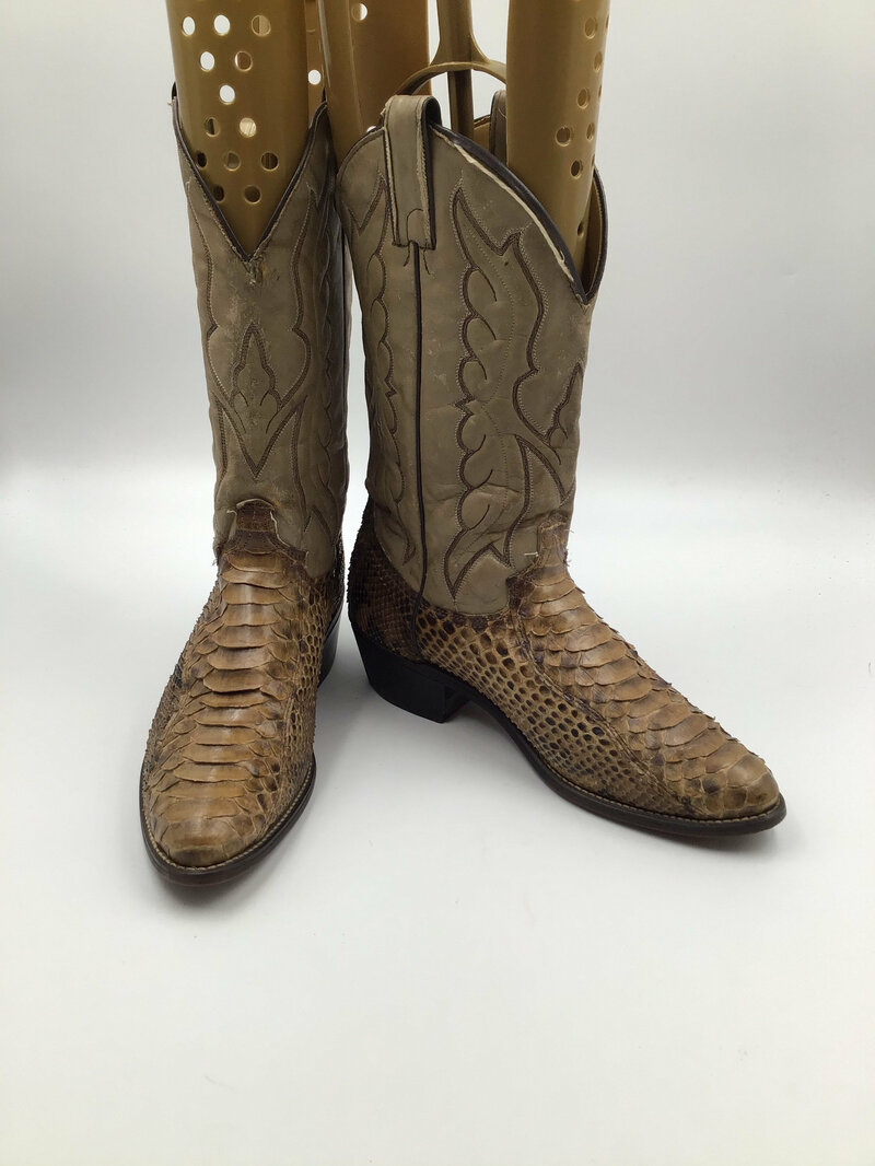 Buy Beige men's boots from real python leather vintage embroidered with unique pattern western style cowboy boots streetstyle retro size 10 1/2.