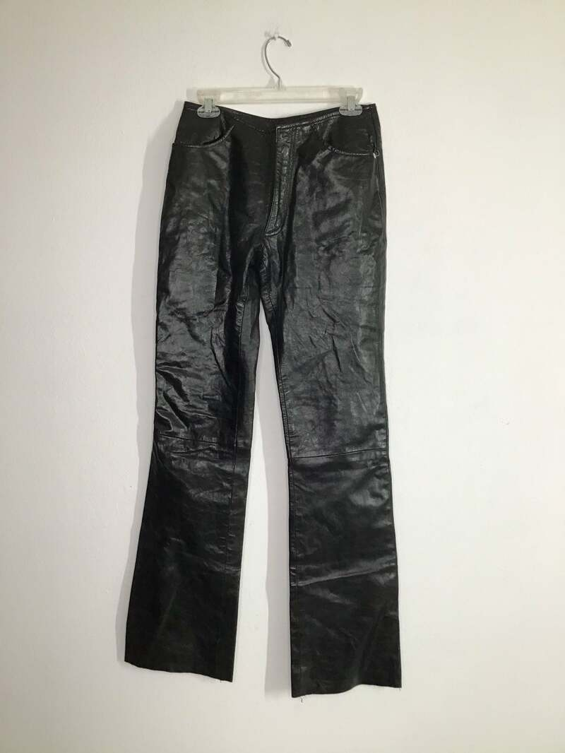 Buy Black Women's pants real leather smooth leather vintage pants rocker pants streetstyle pants motorcycle pants steep pants has size-medium.