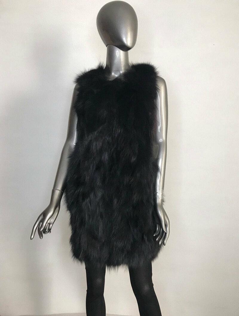 Buy Arctic Fox Fur Vest Black women's fluffy warm vintage vest on clasps, women size large .
