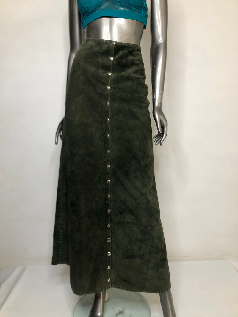 Buy Green Suede Long Skirt with Rivets Woman Size S.