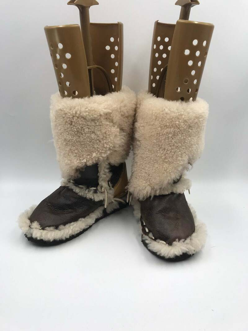 Buy Brown and white women's boots real sheepskin vintage style warm boots fashionable streetstyle boots winter boots brown color has size 7.