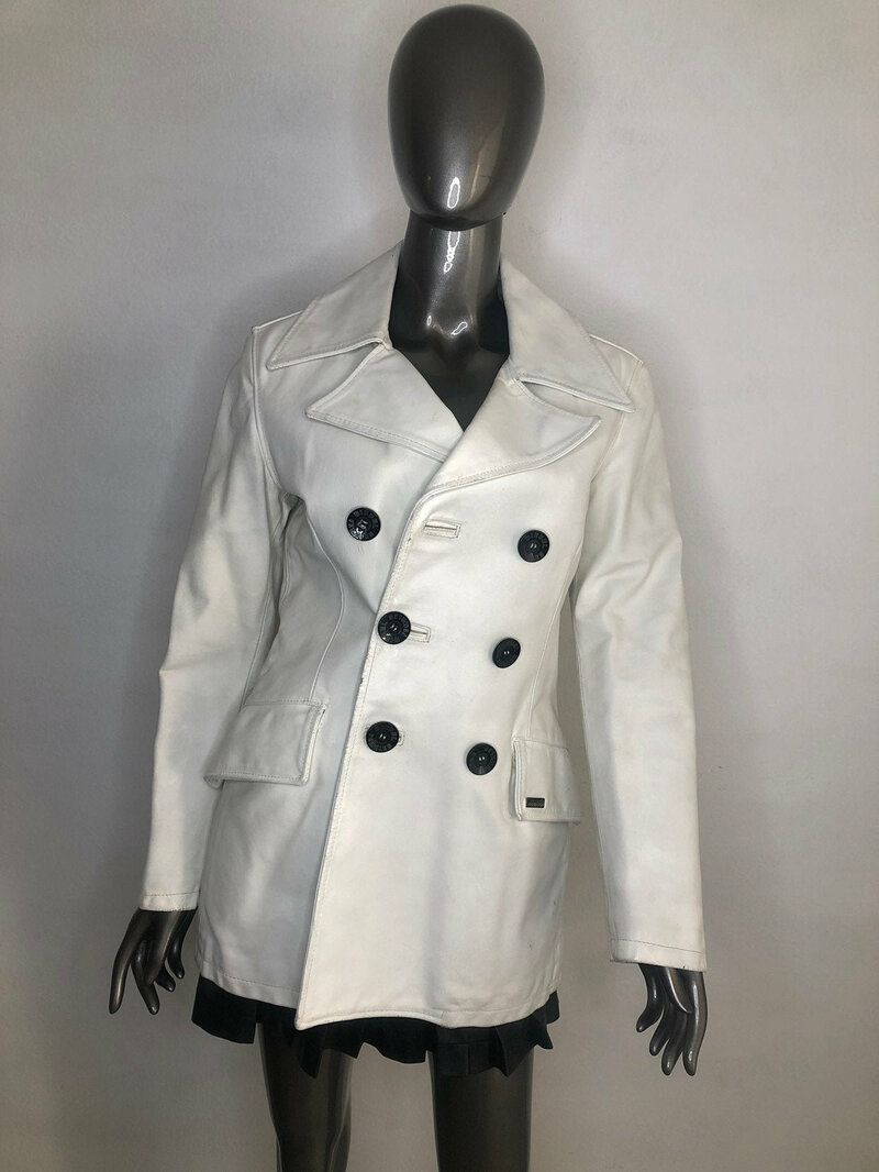 Buy Authentic Diesel jacket , White women's long jacket soft leather with collar, demi-season stylish jacket vintage style.